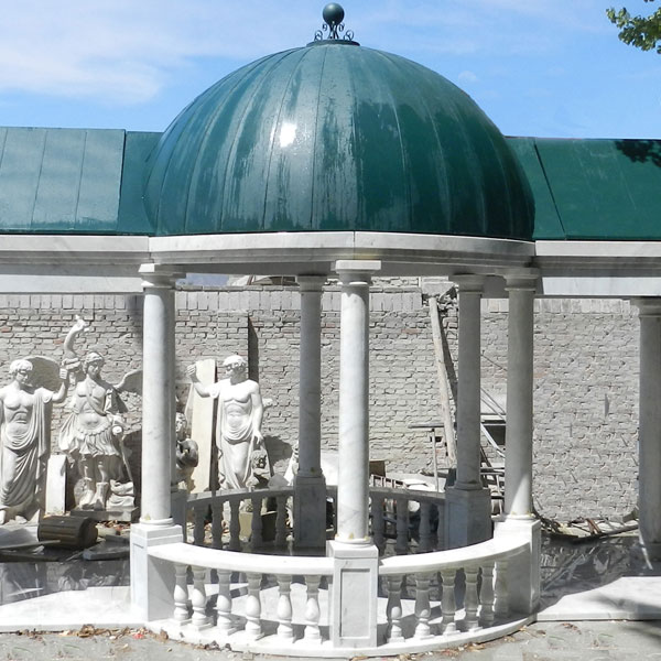 Outdoor elegant white marble pavilion with green hardtop designs for sale