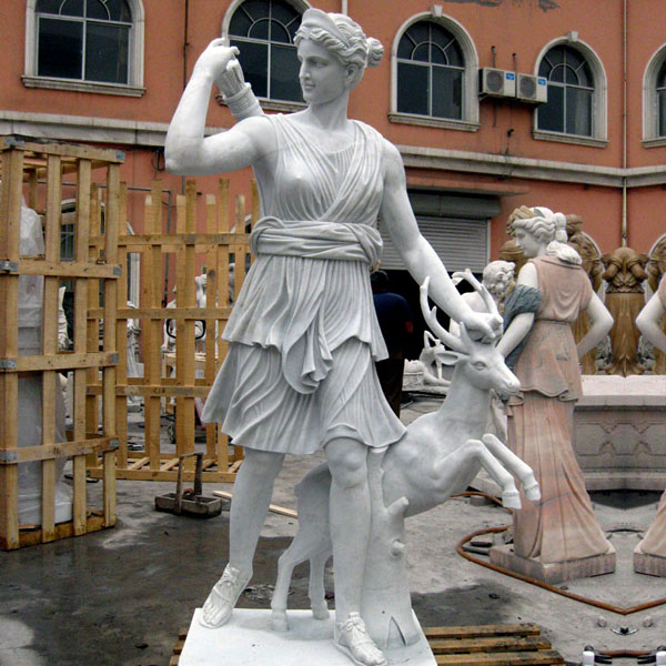No. TCH-09 Outdoor garden decor marble life size artemis diana statue with stag
