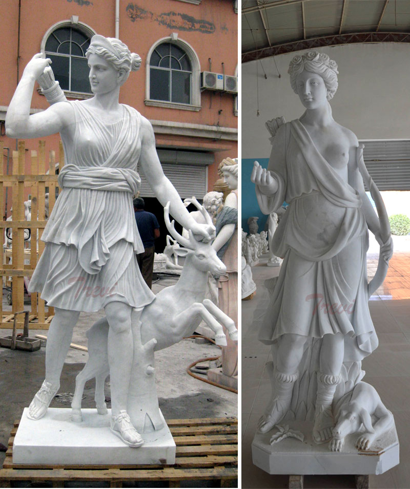 Outdoor garden decor marble life size artemis diana statue details