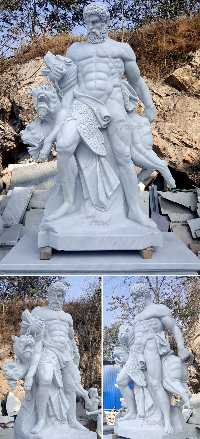 Outdoor life size marble Hercules and Cerberus garden statues details