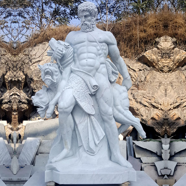 No. TCH-10 Outdoor life size marble Hercules and Cerberus garden statues