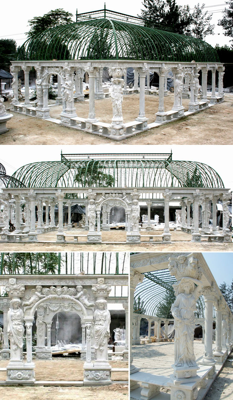 Outdoor luxury white marble pavilion with wrought iron dome sit at the center of the hotel details