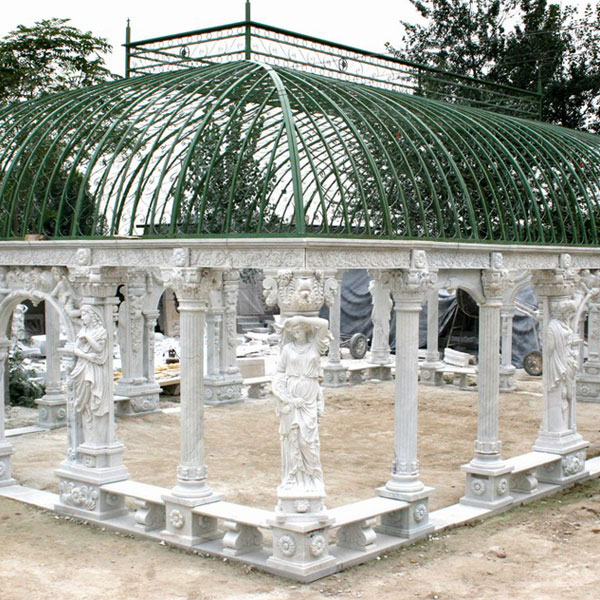No. TMG-09 Buy outdoor luxury white marble pavilion with wrought iron dome for hotel