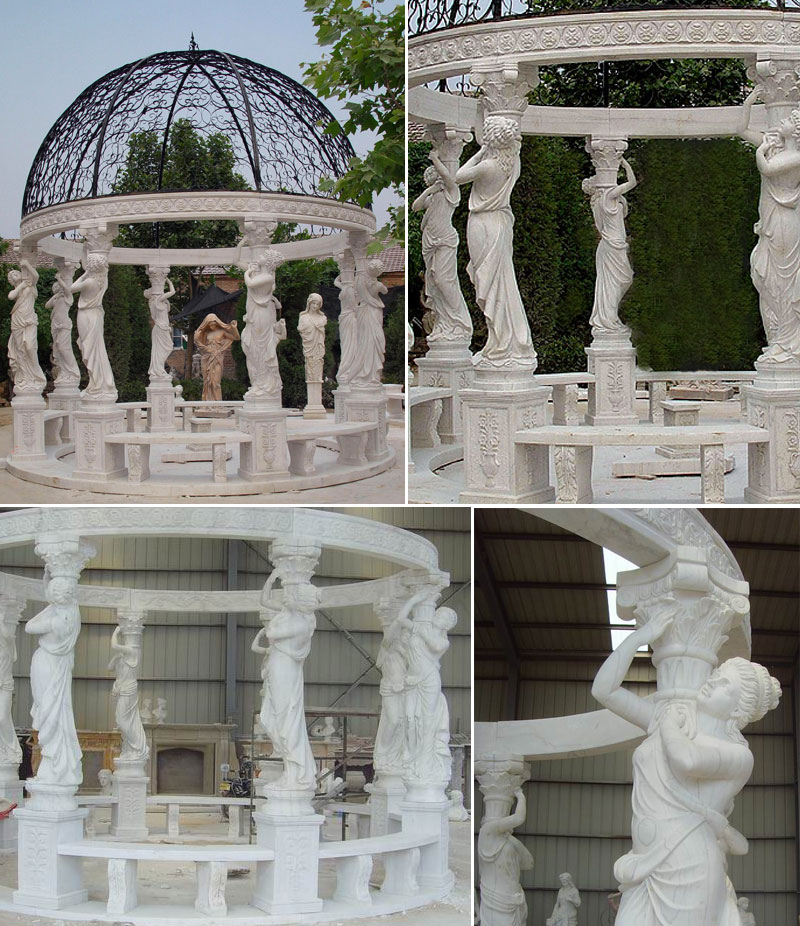 Outdoor yard decor antique marble gazebos details