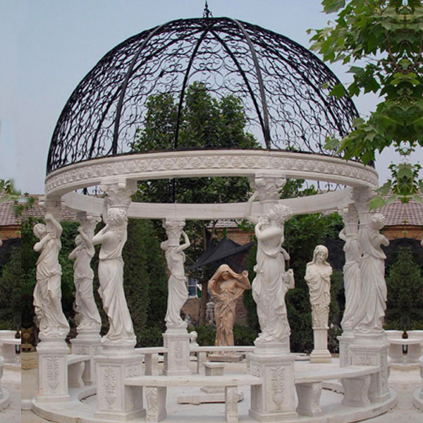 No. TMG-02 Outdoor yard decor antique marble gazebos with round dome for sale
