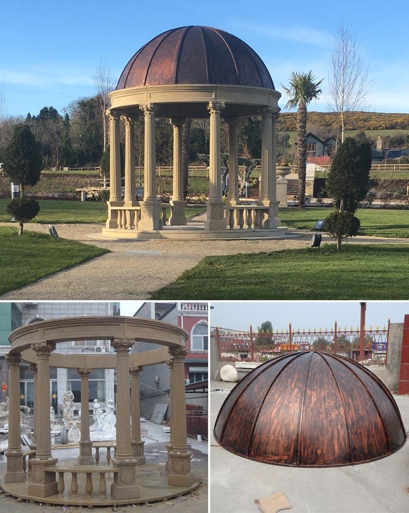 Round antique stone garden gazebos outdoor details