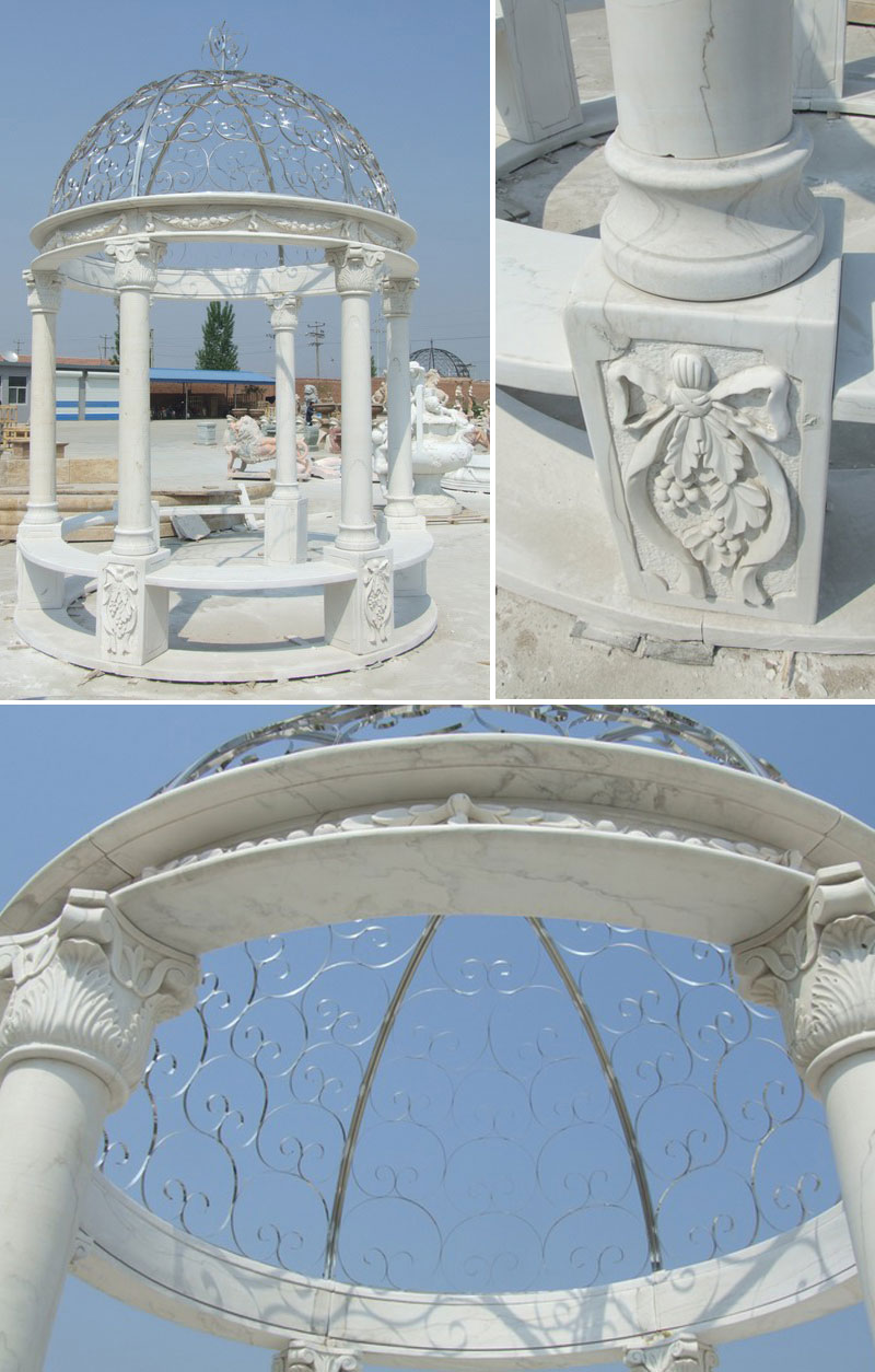 Round pavilion for backyard ornament outdoor decor details