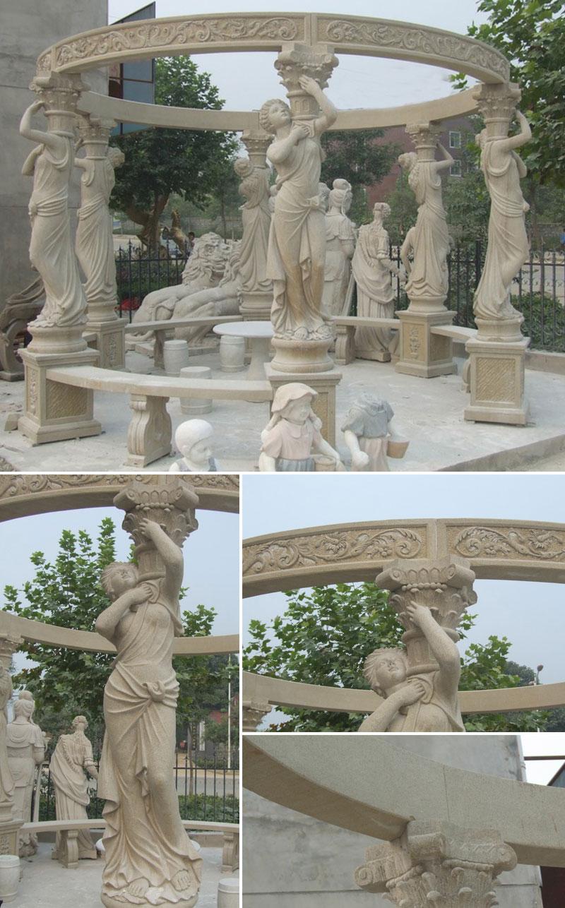 Wedding decorative gazebo with lady columns outdoor decor details