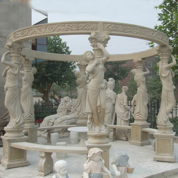 No. TMG-05 Retro decorative pavilion with lady statues and benches for outdoor decor