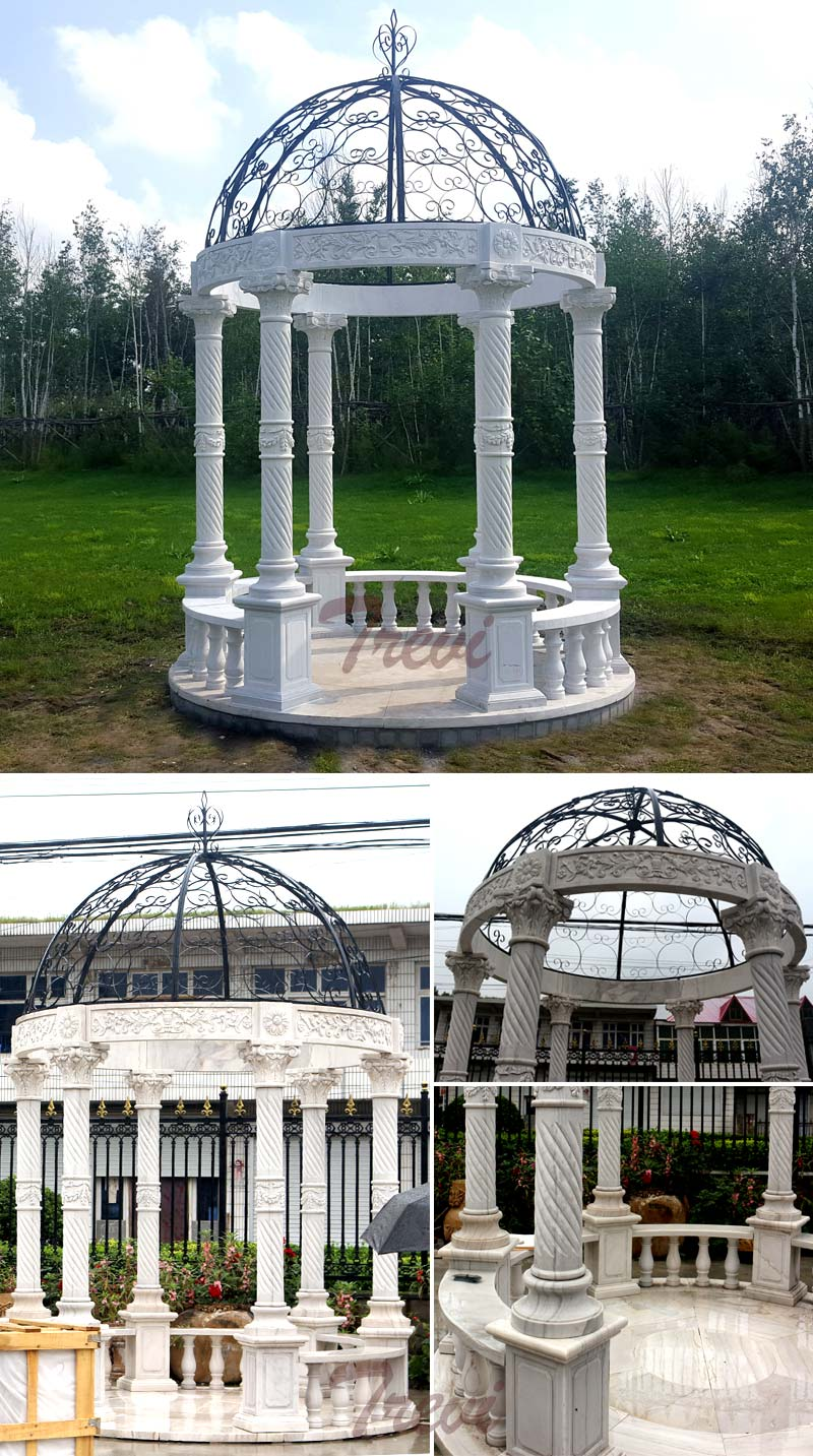 White marble hotel gazebo with metal top designs details