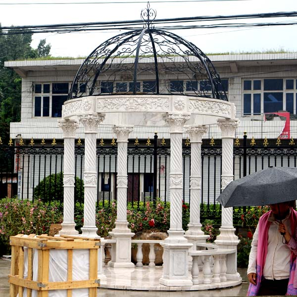 No. TMG-16 White marble hotel gazebo with metal top designs for sale