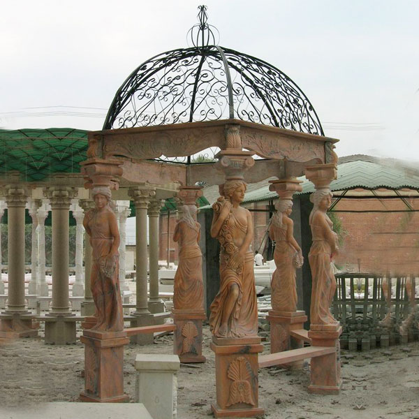 No. TMG-06 outdoor patio sunset red marble gazebo with stone woman pillars for sale