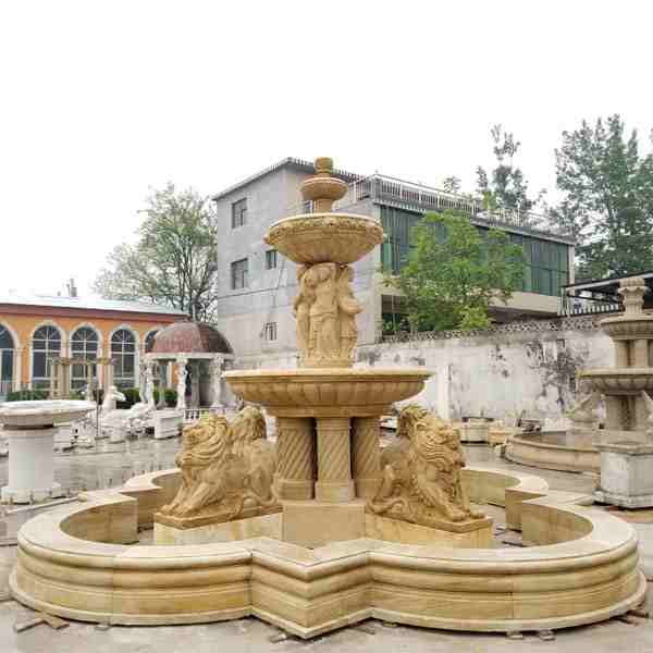 Large Size Natural Stone Yellow Marble Lion Fountain for Sale MOKK-57
