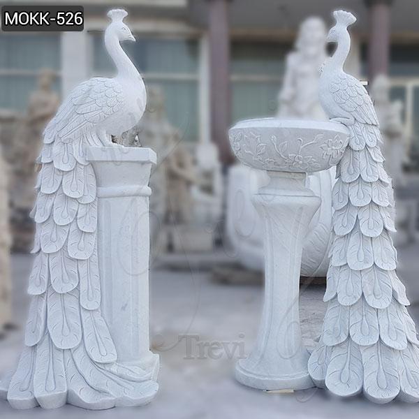 Beautiful Large White Marble Flower Pots Peacock Sculpture Planter Wholesale MOKK-526