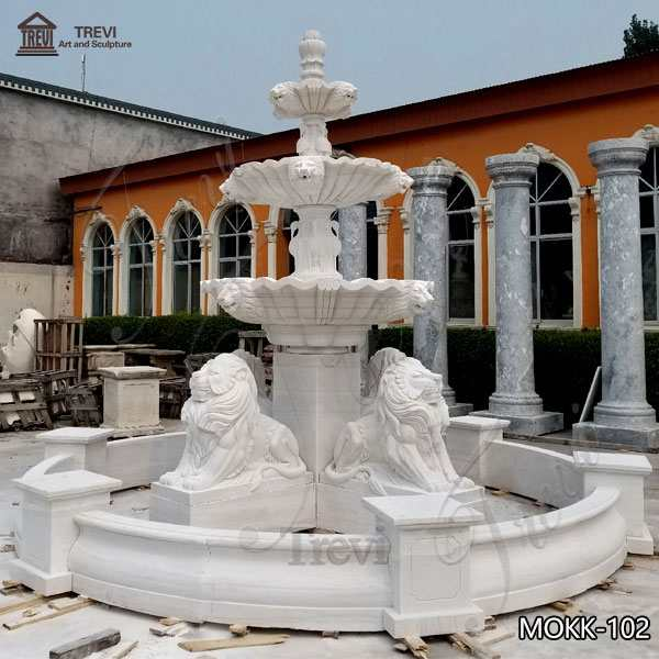 Best Outdoor White Marble Lion Water Fountain for Sale MOKK-102