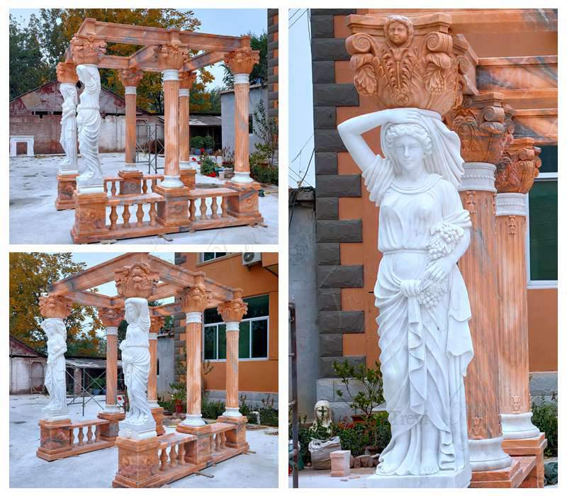 Details on Sunset Red Garden Marble Gazebo with Lady Statue