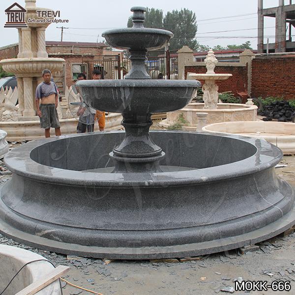 Outdoor Black Granite Tiered Water Fountain Supplier MOKK-666