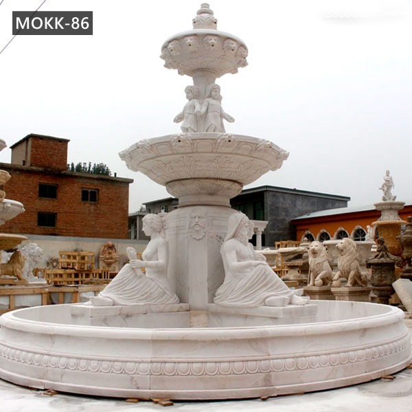Custom Made Garden Marble Water Fountain with Lady and Lion Head MOKK-86