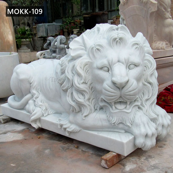 Hand Carved Natural White Marble Lying Lion Statue for Sale MOKK-109