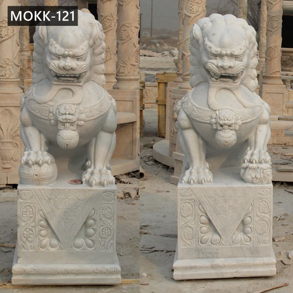 Life Size Hand Carved White Marble Lion Statue for Sale MOKK-121
