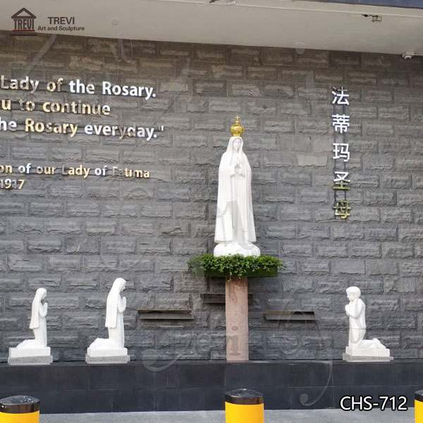 Hot Selling Fatima with Children Marble Statues for Church Suppliers CHS-712