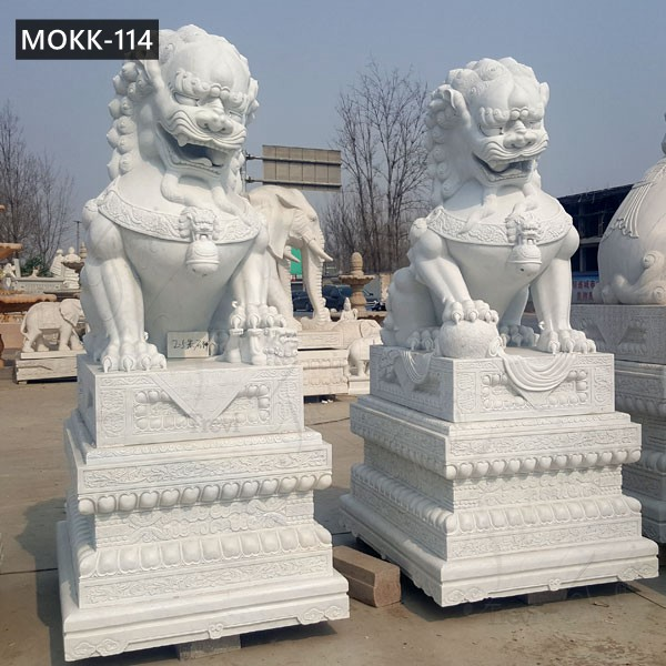 Large Carving White Marble Chinese Foo Dog Statue for Sale MOKK-114