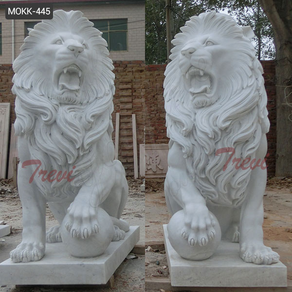Large Guardian Western Stone Marble Roaring Lion Statue with Ball Factory Supply MOKK-445