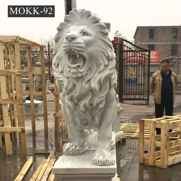 Large Outdoor Hand-carved Marble Lion Statue for Front Porch Supplier MOKK-92