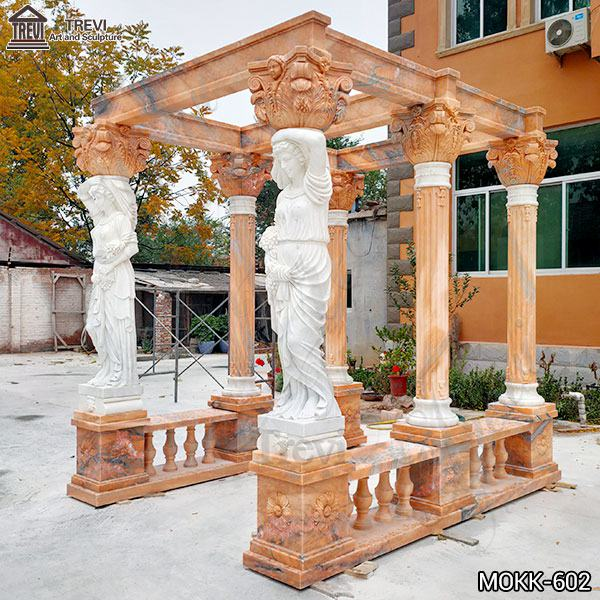 New Design Sunset Red Garden Marble Gazebo with Lady Statue Supplier MOKK-602