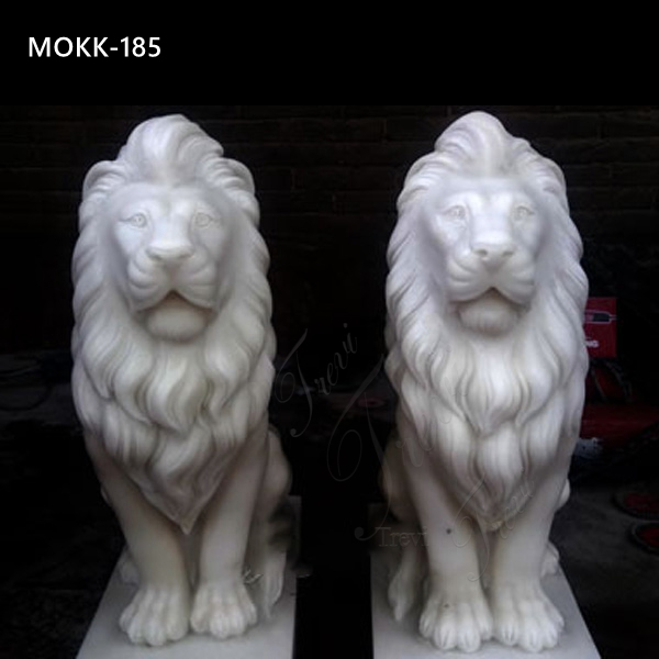 Outdoor Life Size Marble Lion Statues Factory Supply MOKK-185