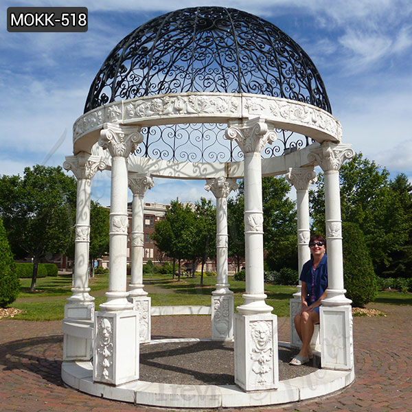 Outdoor White Marble Gazebo Natural Stone Pillar Pavilion with Iron Hat Supplier MOKK-518