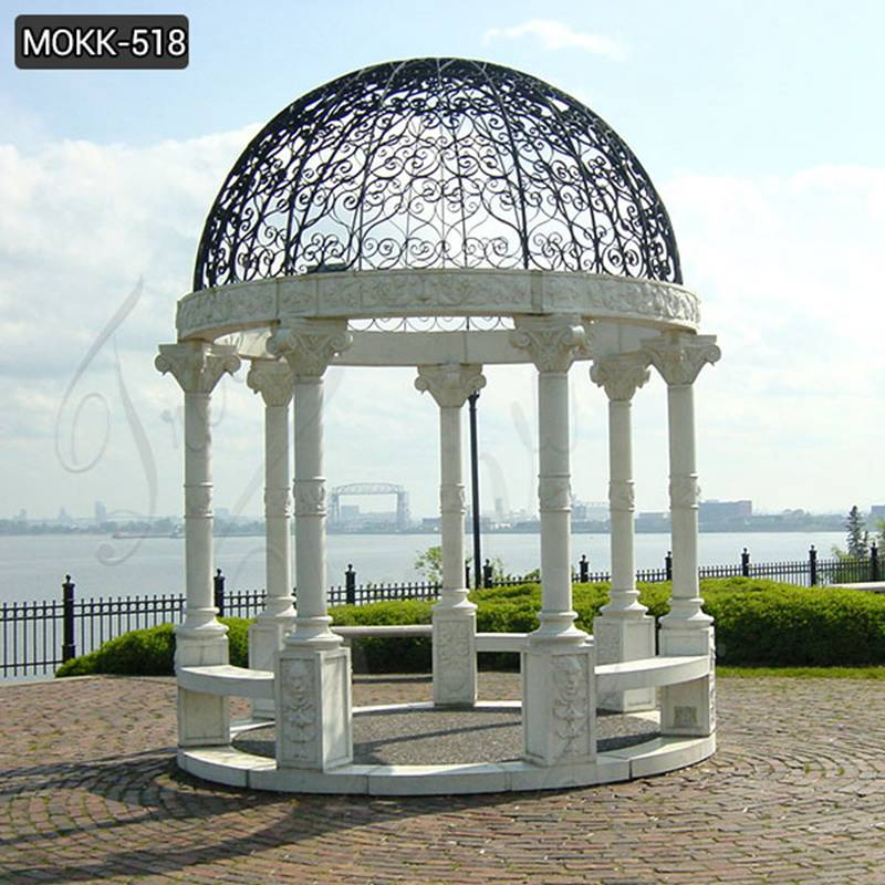 Outdoor White Marble Gazebo Natural Stone Pillar Pavilion with Iron Hat