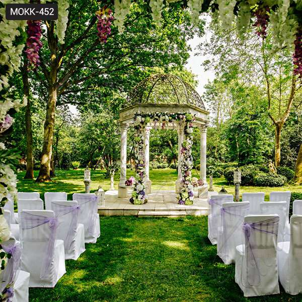 Beautiful Beige Marble Wedding Gazebo Decorations Factory Supply MOKK-452