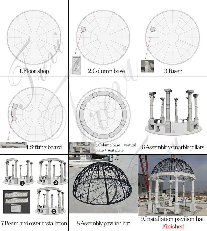 Beige Marble Wedding Gazebo Decor Installation Guidance