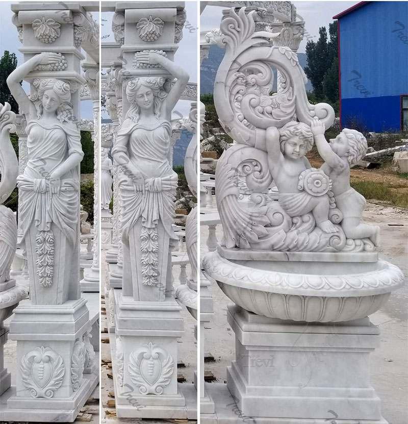 Hand Carved White Marble Gazebo Pavilion for Back Yards Details 2
