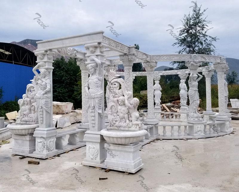 Hand Carved White Marble Gazebo Pavilion for Back Yards Details 3