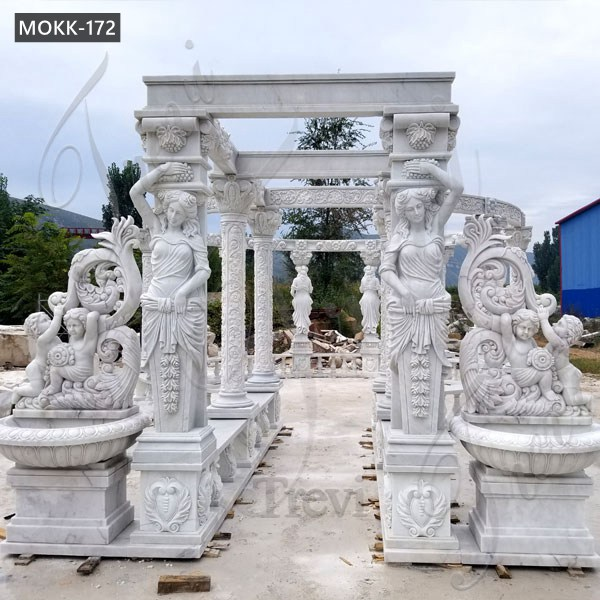 Hand Carved White Marble Gazebo Pavilion for Back Yards for Sale MOKK-172