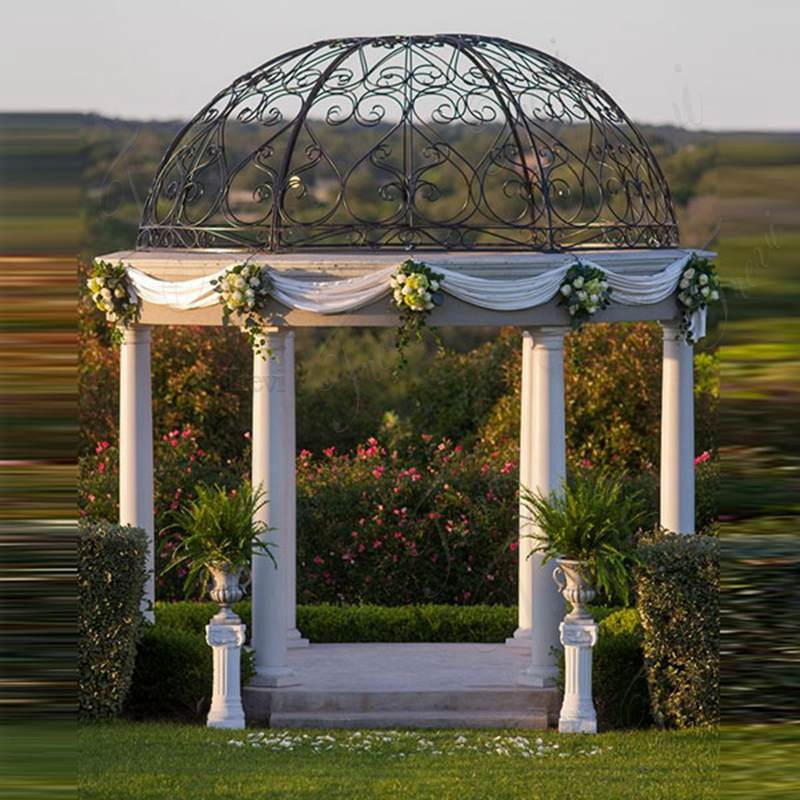 Hot Sale Beige Marble Wedding Gazebo Decor Details