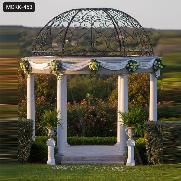 Hot Sale Beige Marble Wedding Gazebo Decor Supplier MOKK-453