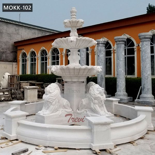 Large Outdoor 3 Tiered Marble Lion Water Fountain for Sale MOKK-102