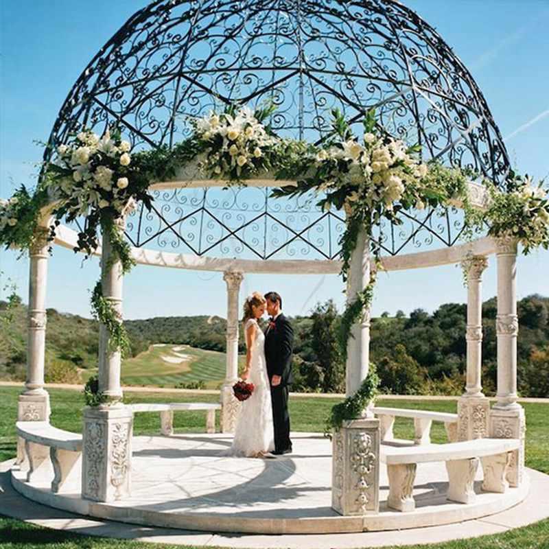 Large Outdoor Marble Wedding Gazebo Decor Details