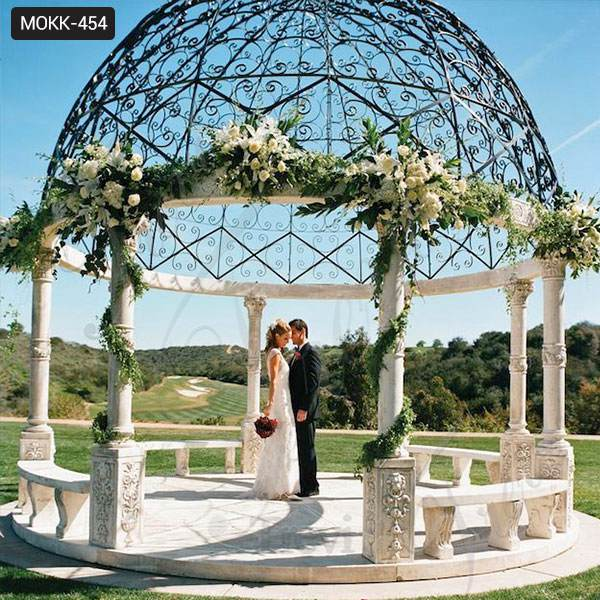 Large Outdoor Marble Wedding Gazebo Decor Supplier MOKK-454