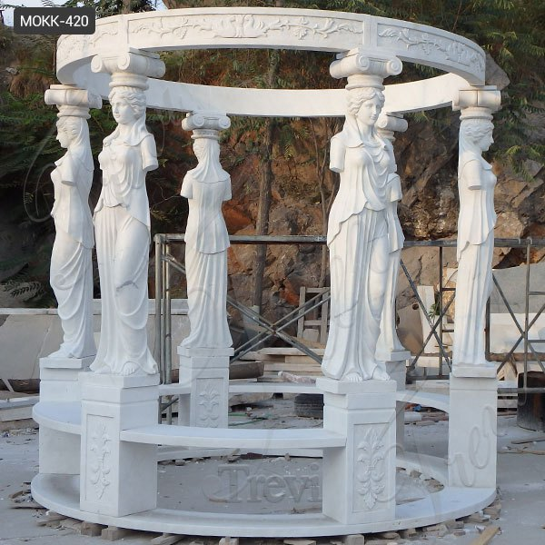 Large White Marble Gazebo Pavilion with Lady Design for Sale MOKK-420