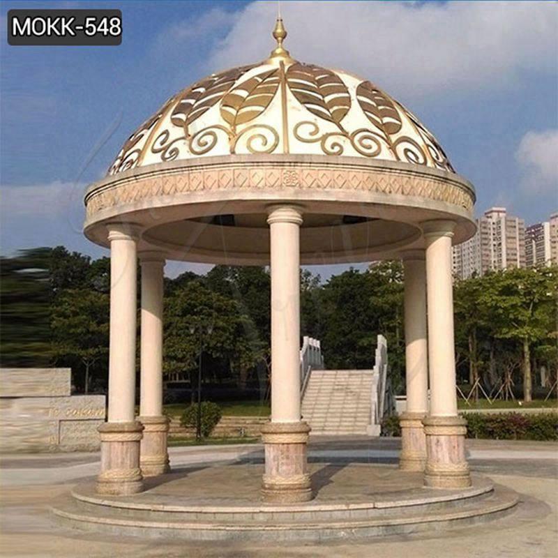 Outdoor Garden Marble Thai-Style Gazebo Golden Metal Leaf for Sale MOKK-548